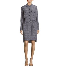 Equipment | Short Delany Dotted Silk Shirtdress