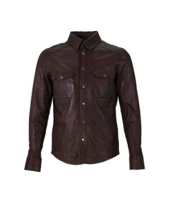 Helium   Leather Spread Collar Sportshirt