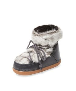 INUIKII   Leather Rabbit Fur Moon Boot