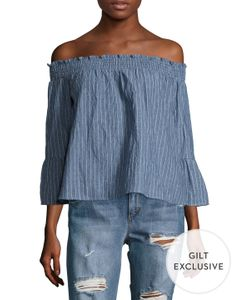 Lucca Couture | Stripe Cotton Off The Shoulder Blouse