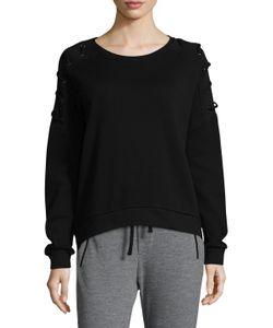 Betsey Johnson   Lace-Up Pullover Cotton Sweatshirt