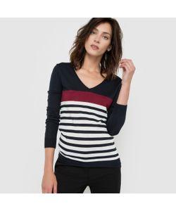 R essentiel | Пуловер С V-Образным Вырезом В Полоску Из Смешанной Ткани С Шерстью