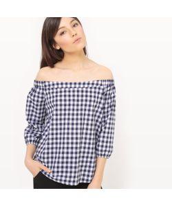 MADEMOISELLE R | Блузка С Открытыми Плечами С Рисунком Виши И Бантиком Сзади