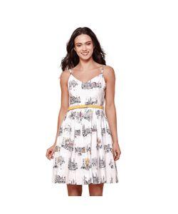 Yumi | Платье Расклешенное От Пояса С Тонкими Бретелями И Рисунком