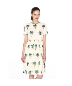 Pepaloves | Платье С Короткими Рукавами И Вышитым Рисунком Пальмы
