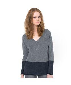 Color Block | Пуловер Двухцветный С V-Образным Вырезом