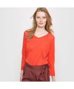 SOFT GREY | Пуловер С V-Образным Вырезом Из Льна И Вискозы