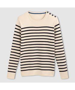 R essentiel | Пуловер В Полоску 100 Хлопка С Круглым Вырезом И Пуговицами На