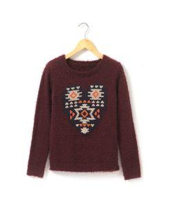 R teens   Пуловер Из Ворсистой Ткани Сердце С Этническим Узором