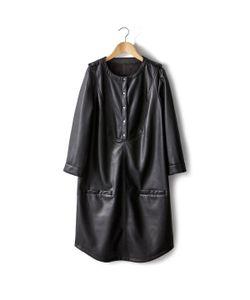 SOFT GREY | Платье Из Искусственной Кожи С Длинными Рукавами