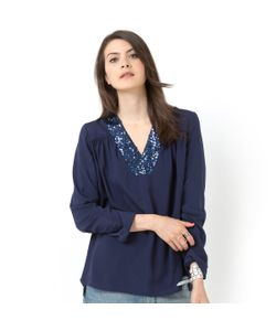 Мини-цена | Блузка С Манишкой Расшитой Пайетками