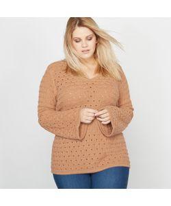 CASTALUNA | Пуловер Из Ажурного Трикотажа С V-Образным Вырезом И Рукавами-Пагода