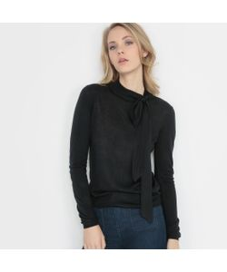 R édition | Пуловер Из Трикотажа Мелкой Вязки С Завязками На Вырезе