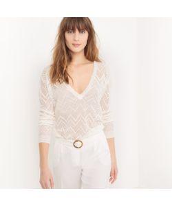 atelier R | Пуловер Из Ажурного Трикотажа С V-Образным Вырезом Из Льна
