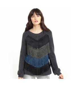 SOFT GREY | Пуловер Из Трикотажа С V-Образным Вырезом И Бахромой Спереди