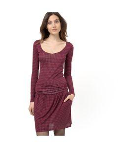 Мини-цена | Платье Из Трикотажа С Рисунком Круглым Вырезом И Длинными Рукавами