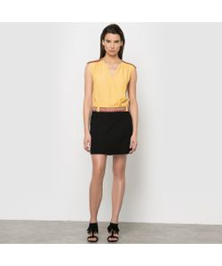 Color Block | Платье Из Двух Материалов С Тесьмой На Поясе