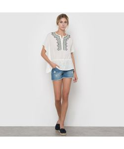 Color Block | Блузка С Короткими Рукавами И Вышивкой На Манишке