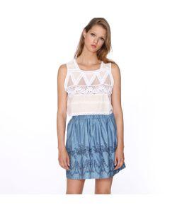 Pepaloves | Юбка Короткая Со Складками С Рисунком Skirt Denim Embroidery