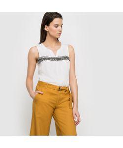 Color Block | Блузка Струящаяся Без Рукавов Украшенная Тесьмой С Бахромой