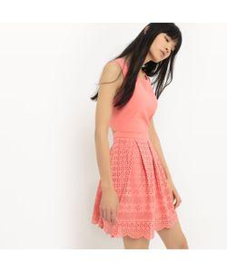 Suncoo   Платье Для Торжества Расклешенное С Вырезом И Вышивкой На Юбке