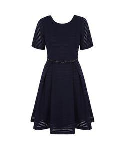 Yumi | Платье Расклешенное С Короткими Рукавами В Ажурную Полоску