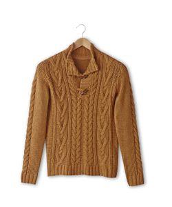 SOFT GREY | Пуловер С Узором Косы И Высоким Воротником