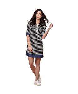 Yumi | Платье В Полоску В Морском Стиле Рукава 3/4 Вырез С Завязками