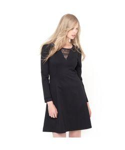 Мини-цена | Платье Из Плотного Трикотажа Стретч И Кружева