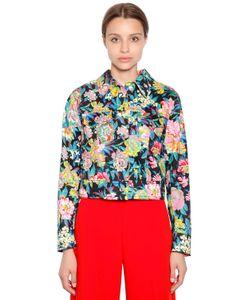 MSGM | Укороченная Куртка Из Денима С Цветочным Принтом