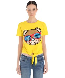 MOSCHINO BEACHWEAR | Bear Print Cotton T-Shirt W Tie Front
