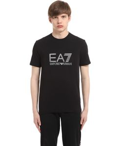 EA7 | Футболка Из Стретч Хлопка С Логотипом