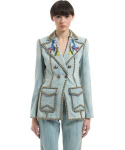 Gucci | Куртка Из Деним С Заклёпками И Вышивкой