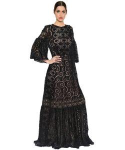 Alberta Ferretti | Embroide Cotton Voile Long Dress