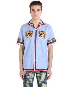 Gucci | Рубашка Из Хлопка Оксфорд С Нашивкой Тигр