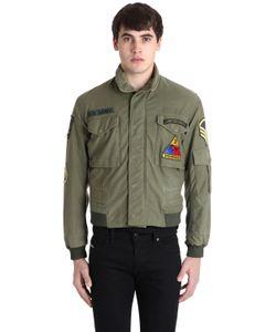 As65   Куртка-Бомбер Из Габардина В Стиле Милитари