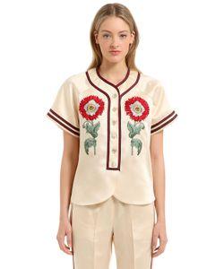Gucci   Рубашка Из Ацетатного Дюшес С Вышивкой