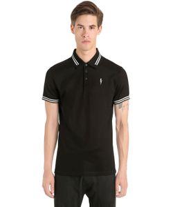 Neil Barrett | Рубашка-Поло Из Хлопка Пике С Принтом Молния
