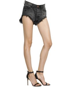 One Teaspoon | Rollers Destroyed Cotton Denim Shorts
