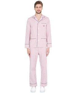 MAISON MARCY | Striped Cotton Pajama Shirt Pants