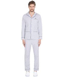 MAISON MARCY | Slim Striped Cotton Pajama Shirt Pants