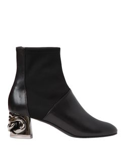 Casadei | 50mm Maxi Chain Leather Ankle Boots