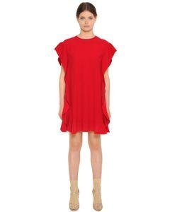 Red Valentino | Платье Из Креп-Атласа С Оборками