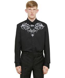 Givenchy | Рубашка Из Хлопковой Саржи С Принтом Tattoo