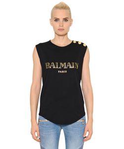 Balmain | Футболка Из Хлопкового Джерси С Принтом