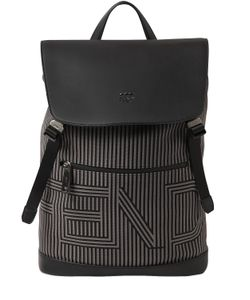 Fendi | Рюкзак Из Кожи И Канвас В Полоску С Логотипом