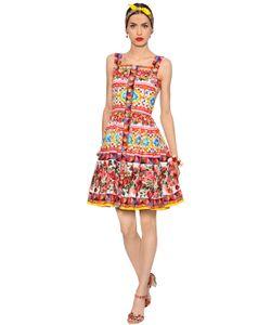 Dolce & Gabbana | Платье Из Хлопкового Поплин С Цветочным Принтом