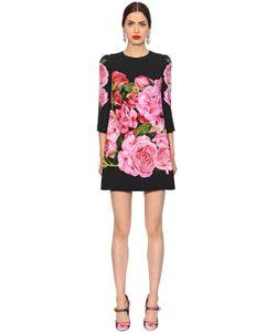 Dolce & Gabbana | Платье Из Кади С Принтом Розы