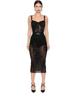 Dolce & Gabbana | Платье Из Тюля С Цветочной Вышивкой