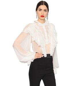 Dolce & Gabbana | Рубашка Из Шёлкового Шифона И Кружева